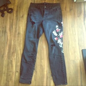Black Distressed Jeans w/ Embroidered Flowers